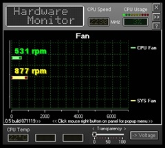 BIOSTAR Monitor showing CPU and System fan speeds.