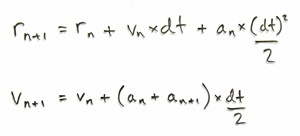 The leapfrog equations.