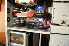 GTX 260 installed. Note the limited space for another card.